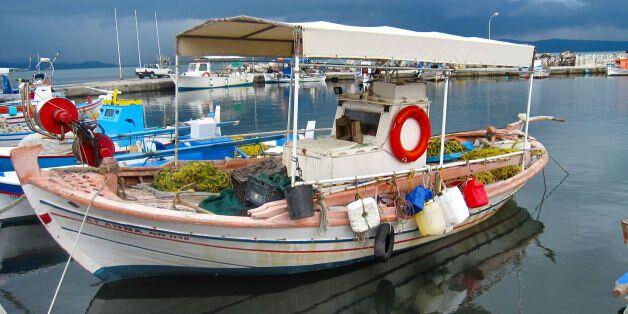 Taken in Skala Kalloni harbour. On the Greek Island of Lesbos.Traditional fishing