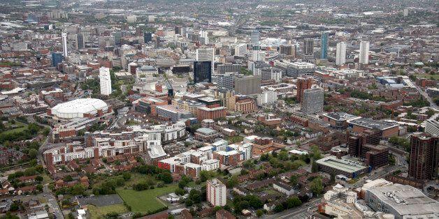 Aerial view north-east of The National Indoor Arena, suburban apartment blocks, Ladywood Middleway, tower blocks, Birmingham City Centre, B16 UK.