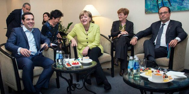 RIGA, LATVIA - MAY 21: In this handout photo provided by the German Government Press Office (BPA), (L-R)...