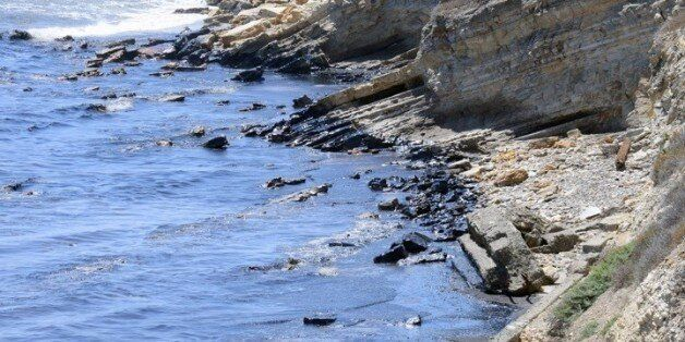 This photo provided by the Santa Barbara County Fire Department shows an oil slick from a broken pipeline...