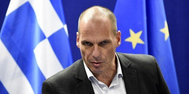 Greek Finance Minister Yanis Varoufakis speaks during a press conference after a Eurogroup Council meeting...