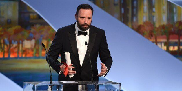 Greek director Yorgos Lanthimos talks on stage after being awarded with the Jury prize during the closing...