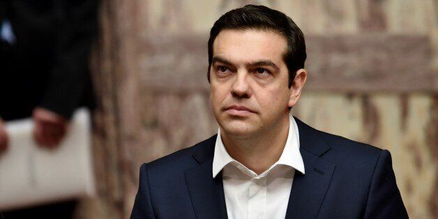 Greek Prime Minister Alexis Tsipras looks on during the swearing in ceremony of the New Greek President...