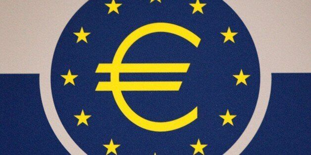 The Euro logo is pictured on the sidelines of a press conference of the European Central Bank (ECB) following...