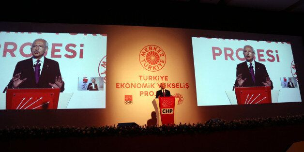Turkey's main opposition Republican People's Party leader Kemal Kilicdaroglu speaks to the media in Istanbul,...