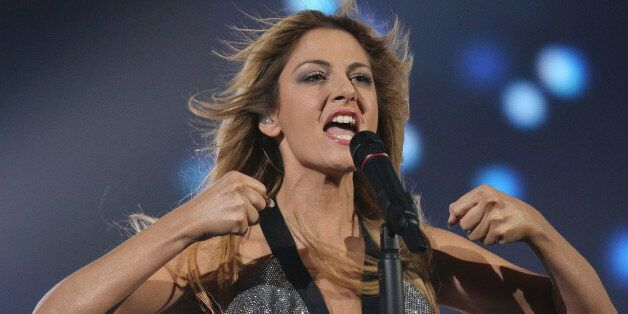 Maria Elena Kyriakou representing Greece performs the song 'One Last Breath' on stage during a dress...