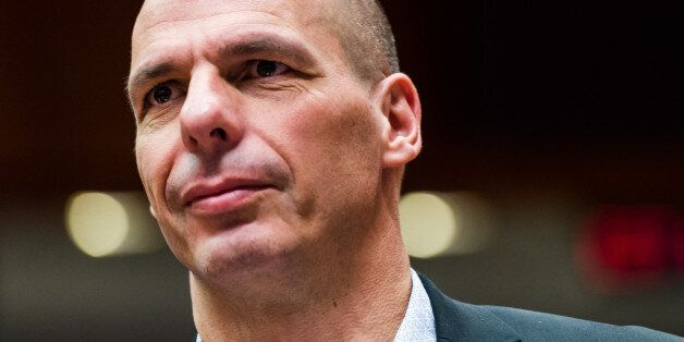 Greece's Finance Minister Yanis Varoufakis arrives for a meeting of EU finance ministers at the European...