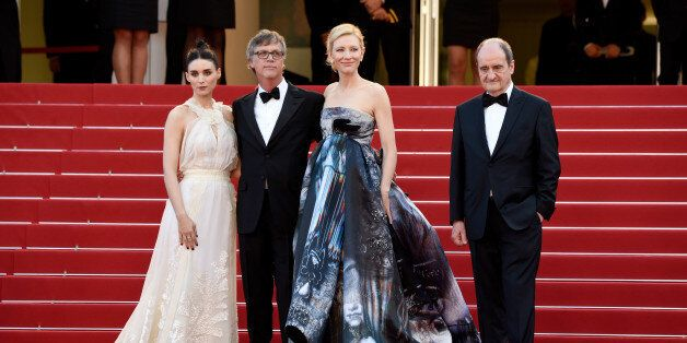CANNES, FRANCE - MAY 17: (L-R) Rooney Mara, director Todd Haynes, actress Cate Blanchett and Pierre Lescure...
