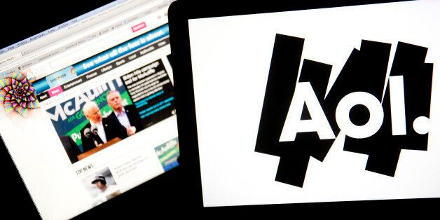 The Aol.com website and Aol Inc. logo are displayed on laptop computers arranged for a photograph in...