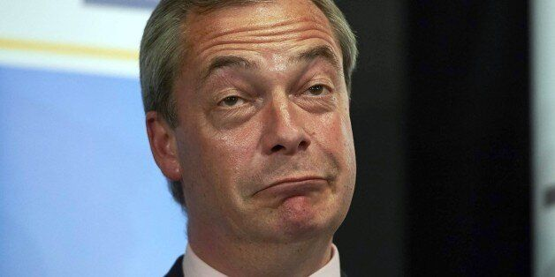 United Kingdom Independent Party (UKIP) leader Nigel Farage reacts after he failed to be elected to the...