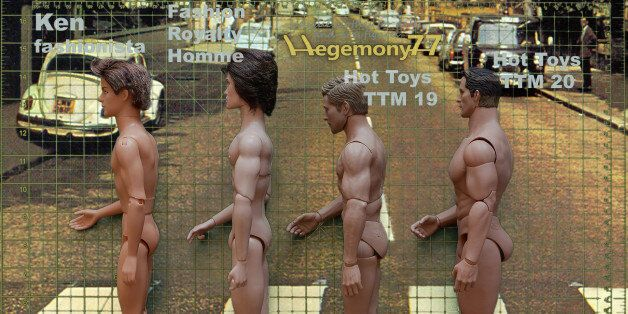 1:6 scale male dolls and action figures comparison photo side view - Ken doll Fashionista - Fashion Royalty...