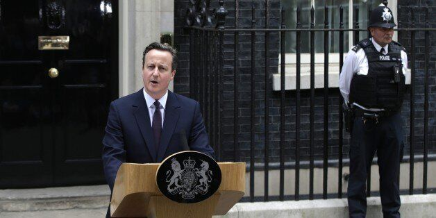 Britain's Prime Minister David Cameron speaks to the media in 10 Downing Street in London Friday, May...