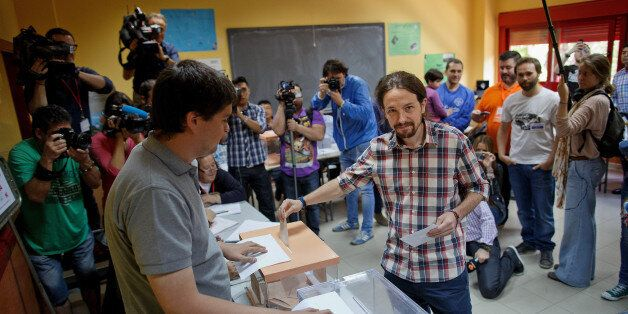 MADRID, SPAIN - MAY 24: 'Podemos' leader Pablo Iglesias poses for a picture as he casts his votes at...