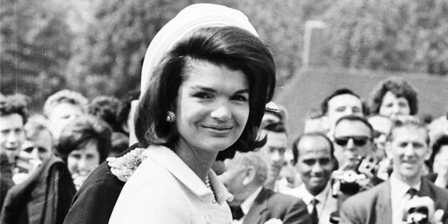 15th May 1965: Jacqueline Kennedy (1929 - 1994) attends the inauguration of a memorial to her husband...