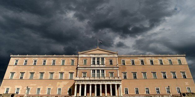 A photo taken on April 7, 2015 shows the Greek Parliament in Athens. Greek lawmakers voted on April 7...