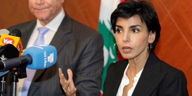 French Justice Minister Rachida Dati, right, speaks during a press conference with her Lebanese counterpart...