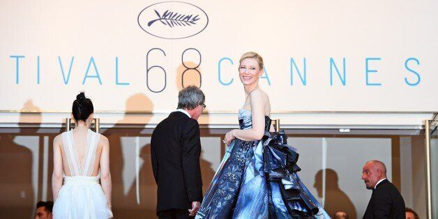 Australian actress Cate Blanchett (R) smiles as she arrives with US actress Rooney Mara (L) and US director...