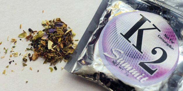 This Feb. 15, 2010, photo shows a package of K2 which contains herbs and spices sprayed with a synthetic...