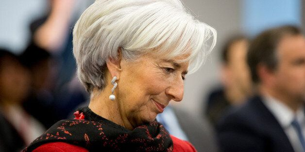 International Monetary Fund Managing (IMF) Director Christine Lagarde sits in the audience before speaking...