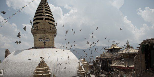 TO GO WITH AFP STORY NEPAL-QUAKE-AID-HERITAGE-RELIGION-BUDDHISM by Beatrice Le BohecThis picture taken...
