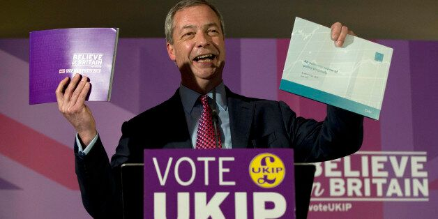 FILE - This is a Wednesday, April 15, 2015 file photo of Nigel Farage leader of the UK Independence Party...