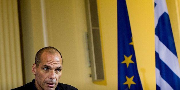 BERLIN, GERMANY - FEBRUARY 05: New Greek Finance Minister Yanis Varoufakis attends a pressconference...