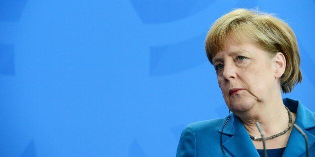 German Chancellor Angela Merkel attends a press conference after talks with the Czech Prime Minister...