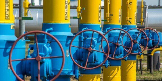 Gas pipes are photographed at the gas compressor station in Velke Kapusany, Slovakia, on September 2,...