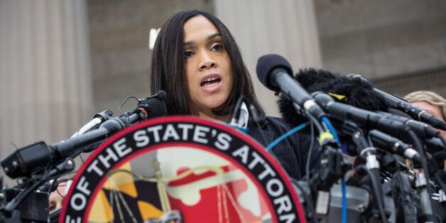 BALTIMORE, MD - MAY 01: Baltimore City State's Attorney Marilyn J. Mosby announces that criminal charges...