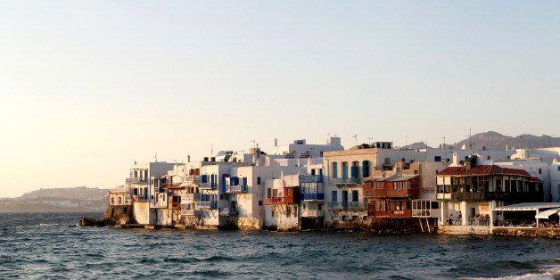 MYKONOS, GREECE - JUNE 29 2013: little Venice at the port of Chora the capital on June 29, 2013 in Mykonos...