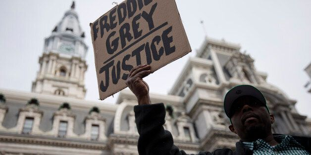 Daniel H Smith demonstrates outside City Hall in Philadelphia on Thursday, April 30, 2015. The event...