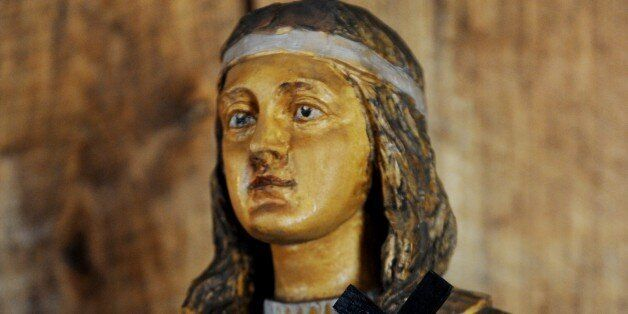 A wooden statue of Kateri Tekakwitha, a 17th century Mohawk woman who the Vatican will canonize later...