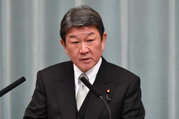 Newly appointed Japanese Foreign Minister Toshimitsu Motegi speaks during a press conference at the prime...