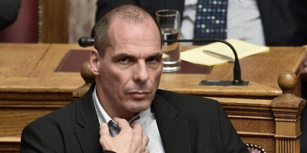 Greek Finance Minister Yanis Varoufakis attends a parliament session in Athens on March 30, 2015. The...