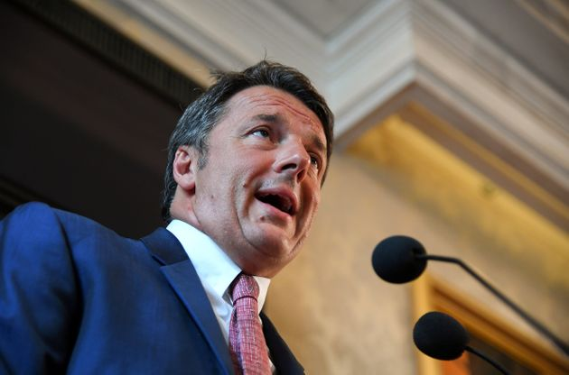 Former Italian Prime Minister Matteo Renzi speaks at a news conference regarding his proposal for a transitional...