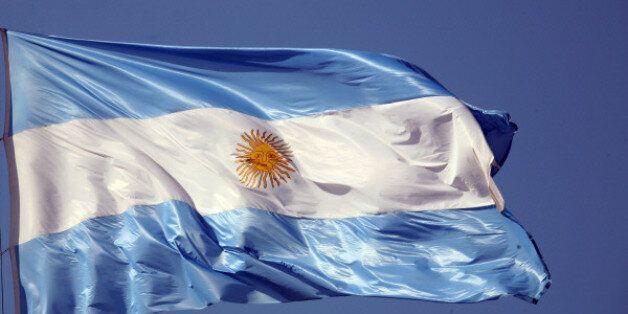 bandera, argentina, simbolo, patrio, flameando, viento,