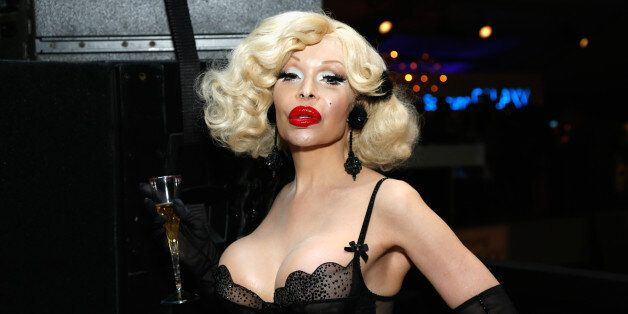 NEW YORK, NY - SEPTEMBER 10: Amanda Lepore attends Day 6 of Mercedes-Benz Fashion Week Spring 2014 at...