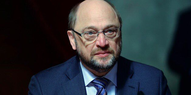 German politician and President of the European Parliament Martin Schulz listens during a meeting with...