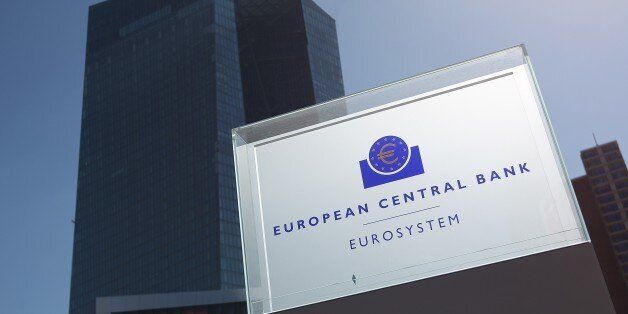 The logo of the European Central Bank (ECB) is pictured in Frankfurt/Main, Germany, on April 15, 2015....