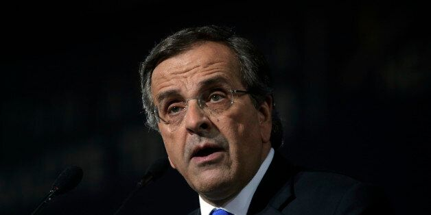 Greece's Prime Minister Antonis Samaras delivers his final campaign speech at the Taekwondo Indoor Stadium...