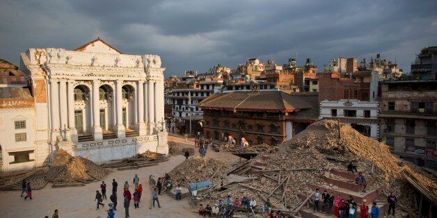 A general view of the Basantapur Durbar Square that was damaged in Saturday's earthquake in Kathmandu,...