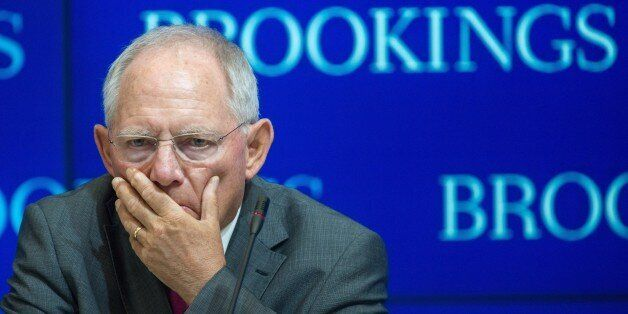 German Federal Minister of Finance Wolfgang Schauble is seen shortly before delivering remarks entitled,...