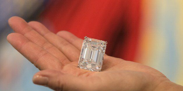A 100.20 carat flawless diamond is displayed at a media preview for Sotheby's Spring Art Auction on March...