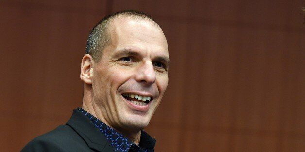 Greek Finance Minister Yanis Varoufakis gestures on March 9, 2015 before the start of a meeting of Eurogroup...