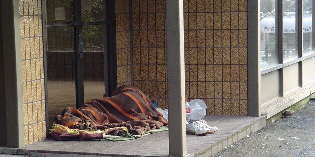 Portland has its share of homeless people. The man (I assume) found a good place to sleep. It is out...