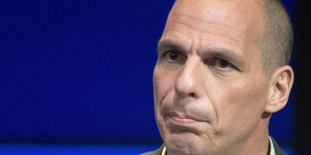Greek Finance Minister Yanis Varoufakis delivers remarks at the Brookings Institute April 16, 2015, in...