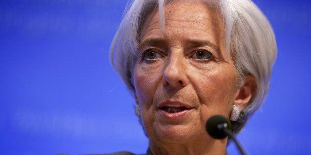 WASHINGTON, DC - APRIL 16: International Monetary Fund (IMF) Managing Director Christine Lagarde speaks...