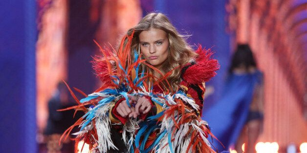 Model Kate Grigorieva displays a creation at the Victoria's Secret fashion show in London, Tuesday, Dec....