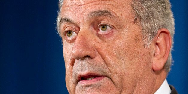 Dimitris Avramopoulos, EU Commissioner for Migration, Home Affairs, and Citizenship, speaks during a...