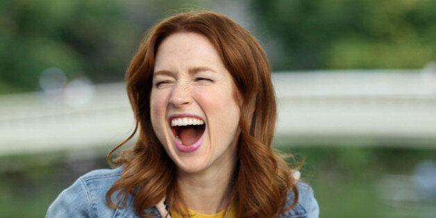 NEW YORK, NY - OCTOBER 08: Ellie Kemper films 'The Unbreakable Kimmy Schmidt' on October 8, 2014 in New...